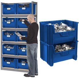 Steel Boltless Wood Deck Shelving With 10 Plastic Hopper Bins Blue, 42x15x84