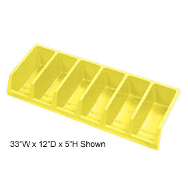 Akro-Mils System Bins™ 30318 Plastic Six Compartment Bin 33 x 18 x 5 Yellow - Pkg Qty 5