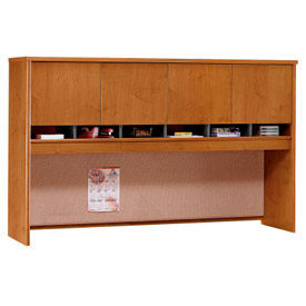 4-Door Hutch In Natural Cherry - Office Furniture Groupings