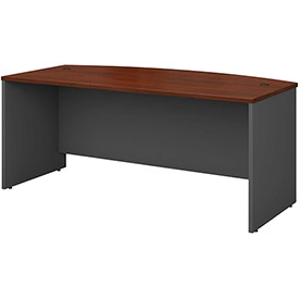 Bow Front Desk Shell In Hansen Cherry - Office Furniture Groupings