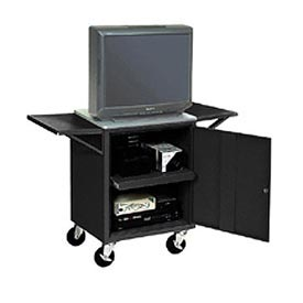 Set Of 2 Black Side Shelves For Security Audio Visual Cart