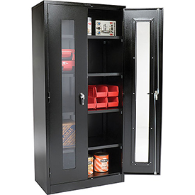Global™ Clear View Storage Cabinet Easy Assembly 36x18x78 - Black