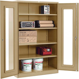 Global™ Clear View Storage Cabinet Assembled 48x24x78 - Tan