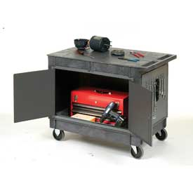 """Mobile Maintenance Cart with Flat Top Shelf 5"""" Rubber Casters"""