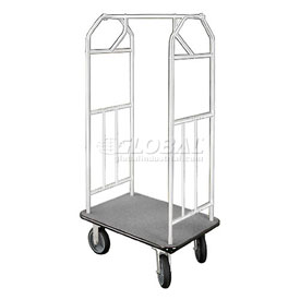Glaro Bellman Hotel Cart 35x24 Satin Aluminum with Gray Carpet & Rubber Wheels