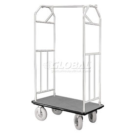 Glaro Bellman Hotel Cart 35x24 Satin Aluminum with Gray Carpet & Pneu. Wheels