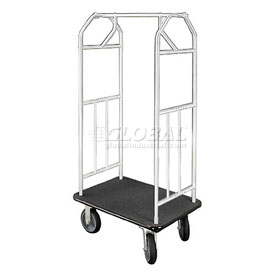Glaro Bellman Hotel Cart 41x24 Satin Aluminum with Black Carpet & Rubber Wheels