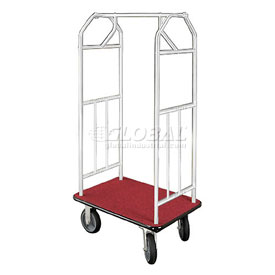 Glaro Bellman Hotel Cart 41x24 Satin Aluminum, Burgundy Carpet & Rubber Wheels