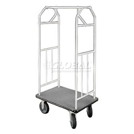 Glaro Bellman Hotel Cart 41x24 Satin Aluminum with Gray Carpet & Rubber Wheels