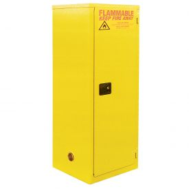 "Global™ Slim Flammable Cabinet BA12YP - Manual Close Single Door 12 Gallon- 23""W x 18""D x 35""H"