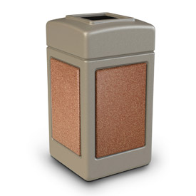 42 Gallon StoneTec® 720316 Square Waste Receptacles - Beige With Sedona Panels