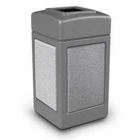 42 Gallon StoneTec® 720311 Square Waste Receptacles - Gray With Ashtone Panels