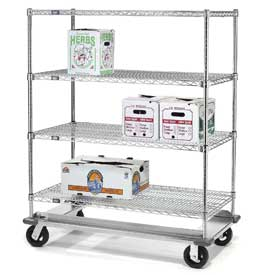 Nexel® E-Z Adjust Wire Shelf Truck with Dolly Base 48x24x70 1600 Lb. Cap.