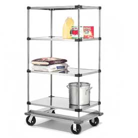 Nexel® Stainless Steel  Shelf Truck with Dolly Base 36x18x70 1600 Lb. Cap.