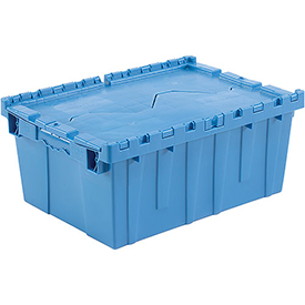 Plastic Shipping Container - Hinged Lid Storage DC2115-09 21-7/8 x 15-1/4 x 9-11/16 Blue