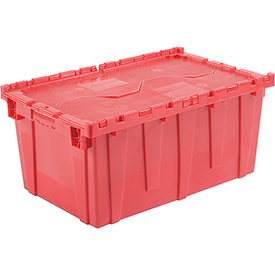 Plastic Storage Totes - Shipping Hinged Lid  DC2717-12 27-3/16 x 16-5/8 x 12-1/2 Red