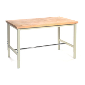 "60""W x 30""D Production Workbench - Maple Butcher Block Safety Edge - Tan"