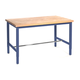 "60""W x 36""D Production Workbench - Maple Butcher Block Safety Edge - Blue"