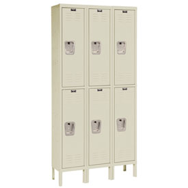 Hallowell U3286-2A-PT Premium Locker Double Tier 12x18x30 6 Door Assembled Parchmnet