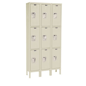 Hallowell U3288-3A-PT Premium Locker Triple Tier 12x18x24 9 Door Assembled Parchment