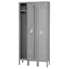 Hallowell U3288-1HG Premium Locker Single Tier 12x18x72 3 Door Ready Assemble Gray