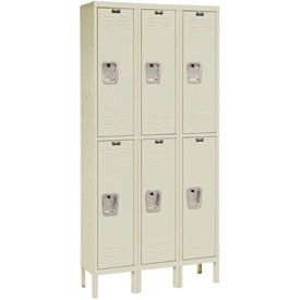 Hallowell U3228-2PT Premium Locker Double Tier 12x12x36 6 Door Ready To Assemble Parchment