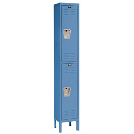 Hallowell U1258-2A-MB Premium Locker Double Tier 12x15x36 2 Door Assembled Blue