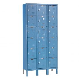 Hallowell U3288-6A-MB Premium Locker Six Tier 12x18x12 18 Door Assembled Blue