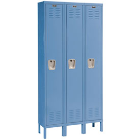 Hallowell U3228-1MB Premium Locker Single Tier 12x12x72 3 Door Ready Assemble Blue