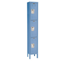 Hallowell U1288-3MB Premium Locker Triple Tier 12x18x24 3 Door Ready To Assemble Blue