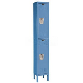 Hallowell U1258-2MB Premium Locker Double Tier 12x15x36 2 Door Ready To Assemble Blue