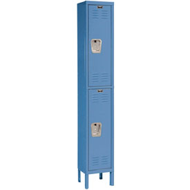 Hallowell U1288-2MB Premium Locker Double Tier 12x18x36 2 Door Ready To Assemble Blue