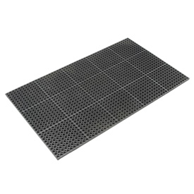 "Cushioned Comfort Drainage Matting 7/8"" Thick 3'W X 10'L Black Grease Resistant"
