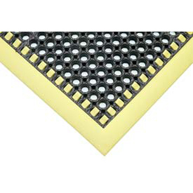 Hi-Visibility Safety Drainage Matting With Grit Top 3-Sided Border 38x52 Yellow