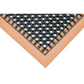 Hi-Visibility Safety Drainage Matting With Grit Top 4-Sided Border 28x40 Orange