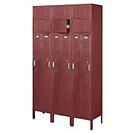 Penco 6501V-3736-KD VanGuard Two Person Locker 15x15x72 Ready To Assembled 3 Wide Burgundy