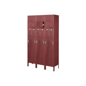 Penco 6505V-3736-KD VanGuard Two Person Locker 15x21x72 Ready To Assembled 3 Wide Burgundy