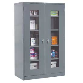 Global™ Clear View Storage Cabinet Assembled 36x18x78 - Gray