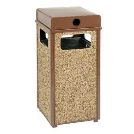 "Global™ Stone Panel Trash Weather Urn Brown 17-1/2"" Square X 36""H"