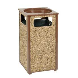 "Global™ Stone Panel Trash Sand Urn Brown 17-1/2"" Square X 32""H"