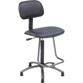 Office Stool with Teardrop Footrest - Vinyl - Black