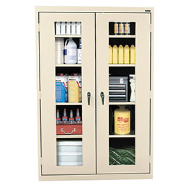 Sandusky Clear View Storage Cabinet EA4V462472 - 46x24x72, Putty