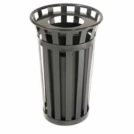 Global™ Outdoor Metal Waste Receptacle - 24 Gallon Black