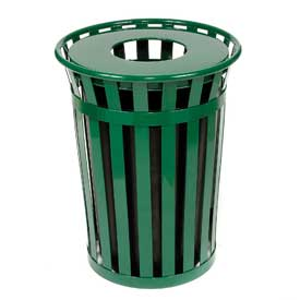 Global™ Outdoor Metal Waste Receptacle - 36 Gallon Green