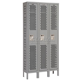 Hallowell U3288-1HV-A-HG Heavy-Duty Ventilated Locker Single Tier 12x18x72 3 Door Assembled
