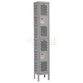 Hallowell U1588-2HV-A-HG Heavy-Duty Ventilated Locker Double Tier 15x18x36 2 Door Assembled