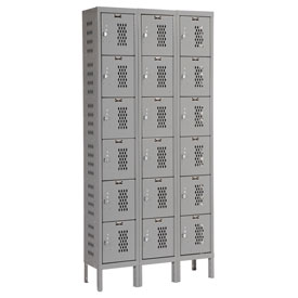 Hallowell U3228-6HDV-HG Heavy-Duty Ventilated Locker Six Tier 12x12x12 18 Door Unassembled