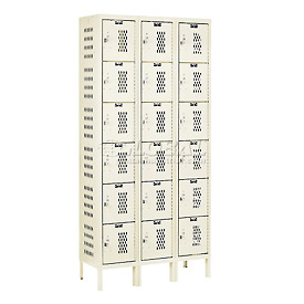 Hallowell U3228-6HV-A-PT Heavy-Duty Ventilated Locker Six Tier 12x12x12 18 Door Assembled