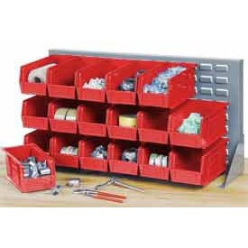 """Louvered Bench Rack 36""""W x 20""""H with 22 of Red Premium Stacking Bins"""