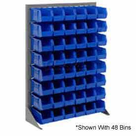 "Singled Sided Louvered Bin Rack 35""W x 15""D x 50""H with 12 of Blue Stacking Akrobins"